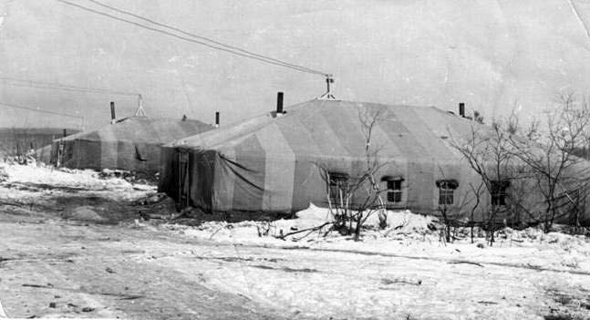 Amursk. The first tents of builders of the city