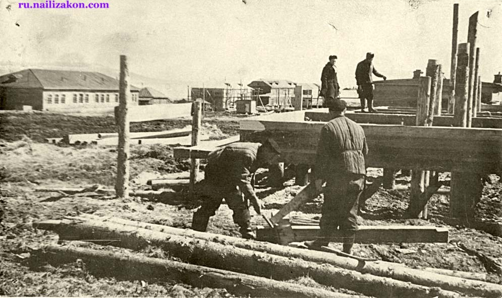 Anadyr. Building a communications house, 1955