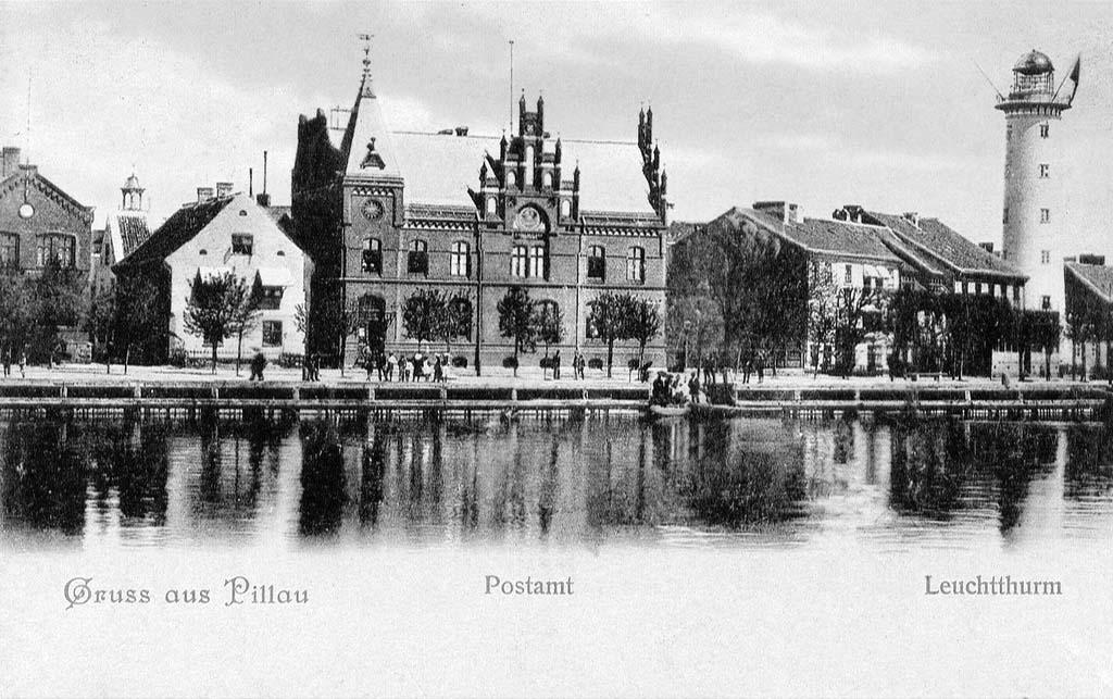 Baltiysk. Central post office and lighthouse, circa 1890