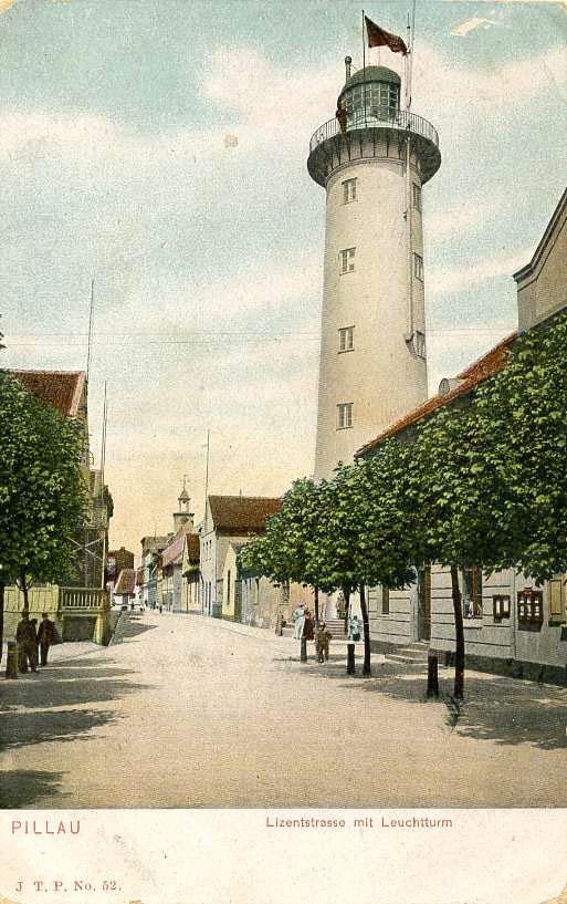Baltiysk. Street and lighthouse