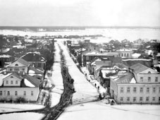 Velsk. Vologodskaya Street, view to the north