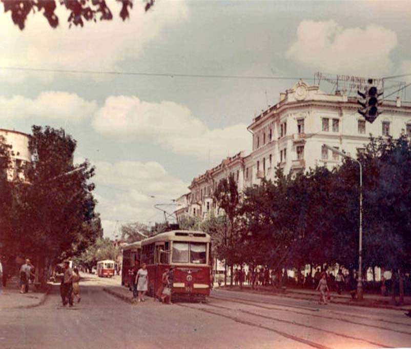 Grozny. Tram on the street Peace