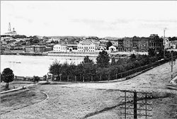 Yekaterinburg. View of the dam and pond
