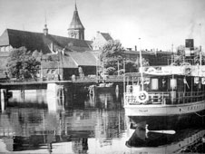 Kaliningrad. Panorama of city, steamship Tilsit