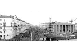 Kemerovo. Construction of Drama Theatre and Vesennyaya street