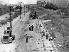 Kemerovo. Laying tram tracks on South Avenue