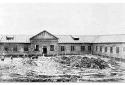 Magadan. Construction of the first hotel, 1933