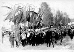 Mozhga. Town demonstration, Lenin Street
