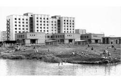 Neftekamsk. Pond 'Harchok', in the distance -  the hostel 'Bashselmash'