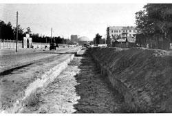 Novosibirsk. Construction of a tram line along Michurin street