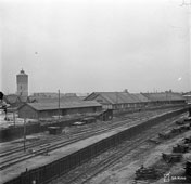 Petrozavodsk. Warehouses at the railway station, 1942