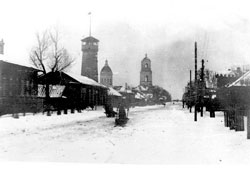 Yadrin. Winter panorama of the city