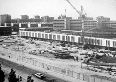 Aktau. Panorama of the city, the construction of a department store