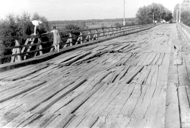 Ahtyrka. Old bridge over the river Vorskla, 1950