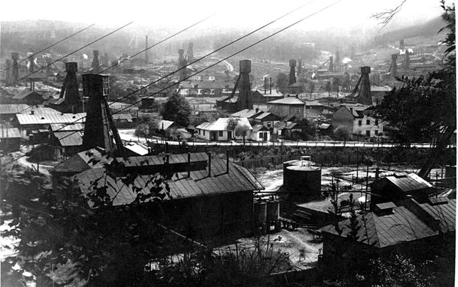 Boryslav. Oil rigs