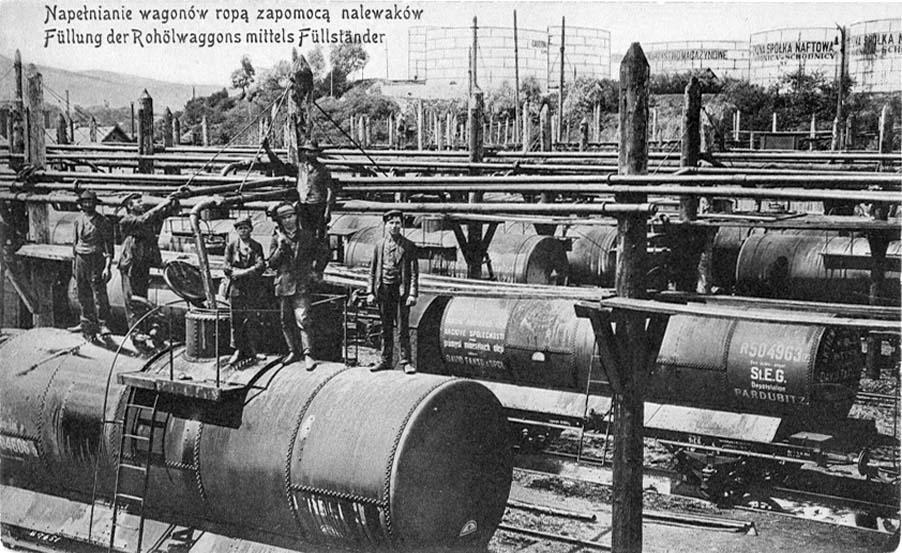 Boryslav. Oil filling of railway tanks
