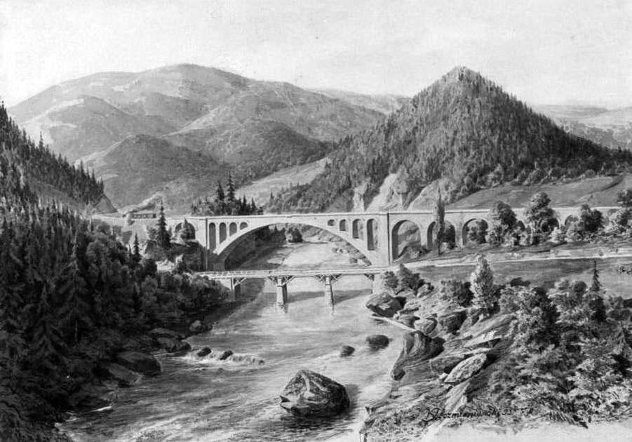 Yaremche. Bridge over the Prut River, 1900