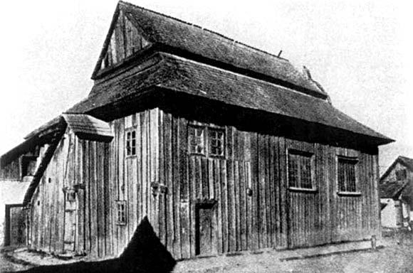 Zhydachiv. Wooden synagogue