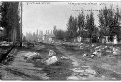 Алма-Ата. Нарынская улица, следы селя 1921 года, 1923 год